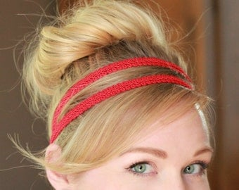 Red Elastic Headband, Double Strand Stretchy Headband, Grecian Headband, Greek Goddess Headband, Messy Bun Headband, Boho Hippie Headband