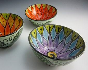 Medium Ceramic Serving Bowl - Purple Blue Lotus Flower - Clay Bowl - Majolica Pottery - Kitchen Prep Bowl - Mandala Pattern - Pottery Bowl