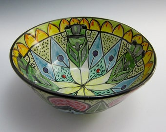 Ceramic Serving Bowl - Dog Day Cicada - Mandala Bowl - Medium Pottery Bowl - Clay Majolica Bowl - Middle Eastern Design - Ornate -