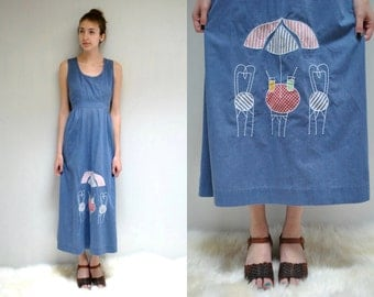 70s Maxi SunDress  //  70s Wrap Dress  //  Chambray Denim Dress  // Cotton Wrap Dress  //   UMBRELLA ELLA