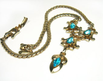 Vintage  Barclay Signed Necklace Gold Tone Aqua Blue Rhinestone - 1940's