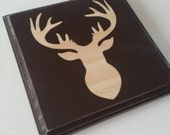 Deer Nursery Decor, Home decor, Wooden Sign, Antlers, Hunting theme, 6 inch by 6 inch, Can be customized