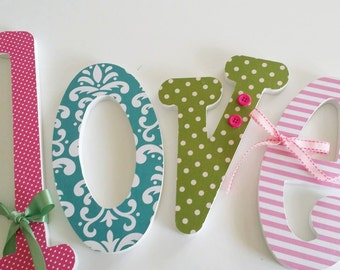 Set of 4 Custom Wall Letters, SIX INCH Letters, Wooden Wall Hanging Name Letter, Choice of Fonts,  Nursery Decor