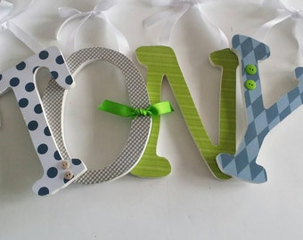 Nursery Wooden Letters for Baby Boy, NAVY GREY and LIME Theme, Hanging Name Sign, Personalized Decor