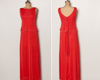 vintage 70s maxi dress red-orange