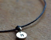 Valentine SALE Make a Wish bracelet with Sterling SIlver TINY personalized hand stamped initial on black waxed Irish linen cord
