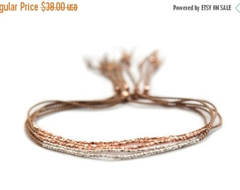 Summer SALE Delicate rose gold or Fine silver on Walnut silk bracelet - friendship bracelet