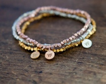 Bead Bracelet, layering, summer beach bracelet in silver, rose gold or gold.