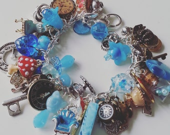Limited Edition, Alice in Wonderland , bracelet, charms bracelet, Alice theme, watch, time, key, tea party, Cheshire cat, by NewellsJewels