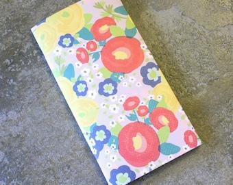 Blank Midori Fauxdori Travelers Notebook Insert Red Flower Cover