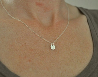 Tiny Silver Disc Necklace - small sterling dot round charm handmade layering necklace - simple & sweet gift everyday or wedding jewelry