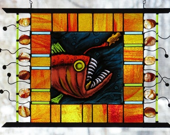 Anglerfish on the Hunt Stained Glass Panel