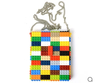 Multicolor hip clutch on a chain made entirely with LEGO® bricks FREE SHIPPING crossbody purse handbag