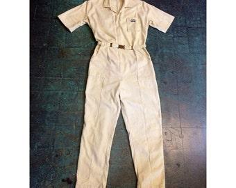 Vintage 70s Bill Parry zip up corduroy leisure romper jumpsuit  // playsuit catsuit flight suit pantsuit onesie workwear menswear // size 16