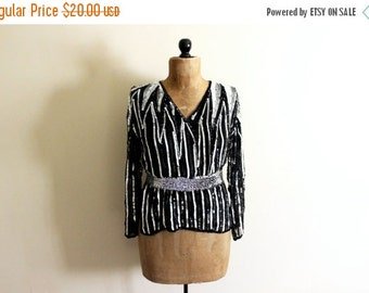 50% OFF SALE SALE vintage blouse 1980s top sequin black silver novelty glittery sparkly womens clothing size small s