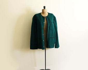 vintage wool coat jacket buffalo plaid 60s forest green black heart trim 1960s womens clothing plus size 1x 2x extra large xl