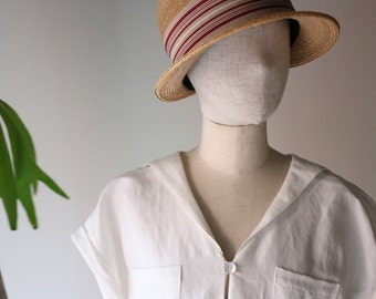 Sailor Collar White Linen Dress