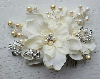 Bridal Hair Comb, Wedding Comb, Ivory Comb, Floral Wedding Comb, ivory Bridal Comb, Silver Wired, Ivory, Freshwater Pearls, KathyJohnson