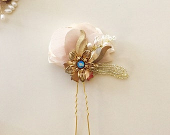 Vintage Art Deco Bridal Hair pin Pearl hair pin Gold wedding - one of a kind