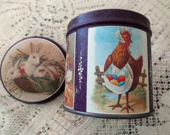 80s vintage round Easter TIN with lid- rabbits, bunnies, chicks