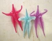 3 handmade bump chenille BODIES - pink, aqua, and lavender
