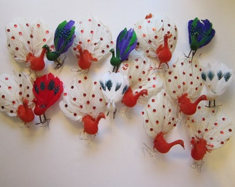 15 vintage flocked and fethered peacocks - wired legs, peacock picks, sequins