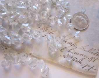 70 salvaged crystal beads - clear bicone textured beads - 6mm to 12mm - reuse, salvaged