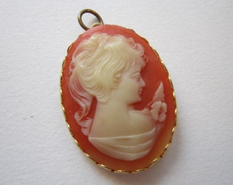 cameo pendant charm with religious icon - 30mm x 42mm