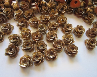 50 vintage resin roses - gold tone resin flowers - vintage Japan supply - 1/2 to 5/8 inch wide