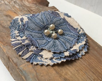 Handmade Fabric Flower Pin in Blue and Beige Muslin With Pearl Beads. Artisan Made Textile Jewelry Shabby Chic Cottage Rustic Gifts Under 20