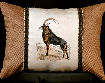 New Tan Embroidered Noble African Sable Pillow New 12 x 16 Insert — Item 171