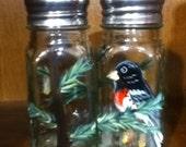 Rose-Breasted Grosbeak Bird Salt and Pepper Shakers Painted Glass Salt & Pepper Shakers Bird by Lisa Hayward