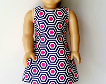 American Girl Doll Dress. AG doll clothes. 18 inch doll. Shift dress. Pink and blue geometric.