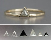 Custom Rose Cut Diamond Triangle Engagement Ring, Choose your Diamond and 14k Yellow, Rose, or White Gold