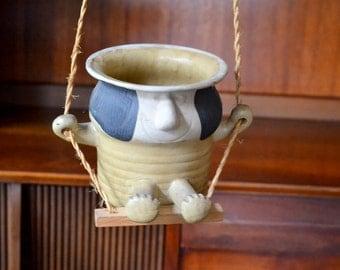 vintage stoneware swinging planter