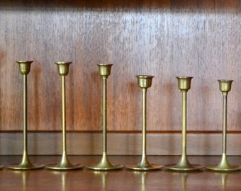 vintage graduated solid brass candle stick holders - mixed