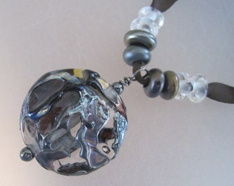 PENDANT LENTIL - WINDOWS - 9 Handmade Lampwork Glass Beads - Inv141-E1-E2-E3