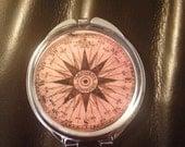 Compass image Compact Mirror -Handmade-FREE SHIPPING-