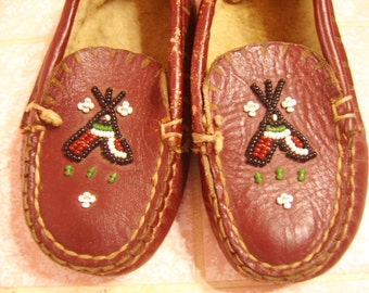 Vintage Antique Leather Beaded Indian Childs Moccasins