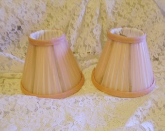Two (2) Vintage Silk Miniature Pink Lamp Shades