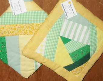POTHOLDERS (#6)  Greens Yellows  Crazy Quilt Traditional Quilt Pattern,  Made in GA,  Abstract, Modern, Spring Colors, Contemporary