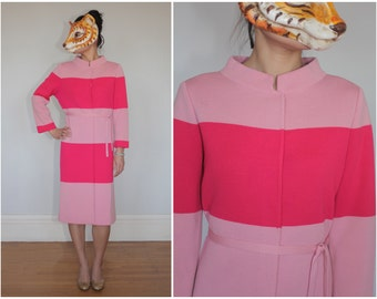 SHOP SALE! Vintage 1960's Wool Knit Sweater Duster Jacket Button Up Coat Dress Vibrant Pink Stripes M Medium L Large