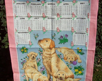 Guide Dogs for the Blind Tea Towel, Pink Tea Towel, Irish Linen Tea Towel, Dog Tea Towel, 1994 Linen Tea Towel, Linen Union
