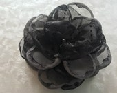 Reserved for dmuir04--Evening's Mist Black and Gray Brooch Flower