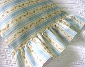 Pink Rosebud Ticking Stripe Li'L Ruffled Pillowcase -Travel Toddler Boudoir Lumbar Pillow Cover -for 12 x 16 - Other colors made to order