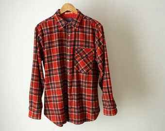 60s PENDLETON twin peaks PLAID flannel button down with leather elbow patches