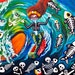 Sugar skull Dia de los Muertos surfing mermaid Day of the Dead Fantasy Art Wave Painting Shaka Halloween Surfing Original Canvas 30x40x1 cm
