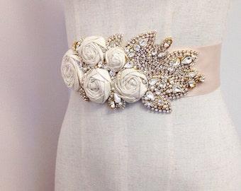 Silk Rose and Crystal Bridal Sash- Floral Bridal Belt- Floral Bridal Sash