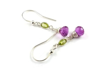 Sterling silver earring, green and pink earring, dangle gemstone earring, everyday jewelry