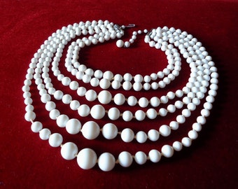 50's Japan 6 Strand White Bead Necklace in Hand-knotted Multi-strand Bib Design & J-Hook Clasp Closure - Vintage 50s Marked Costume Jewelry